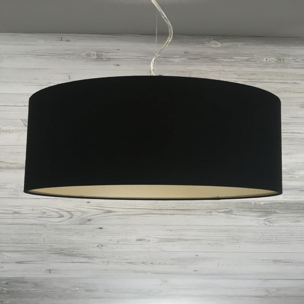 Large Black and Champagne Drum Shade